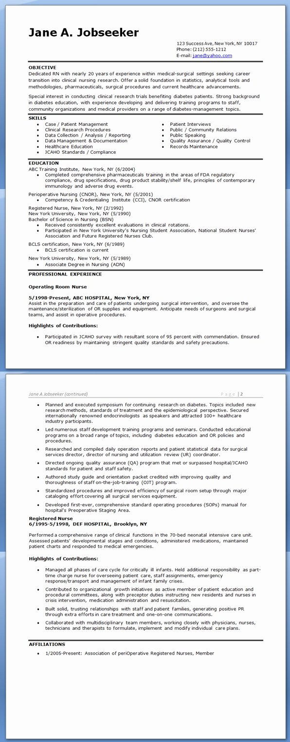 Resume Examples Nursing Career Change