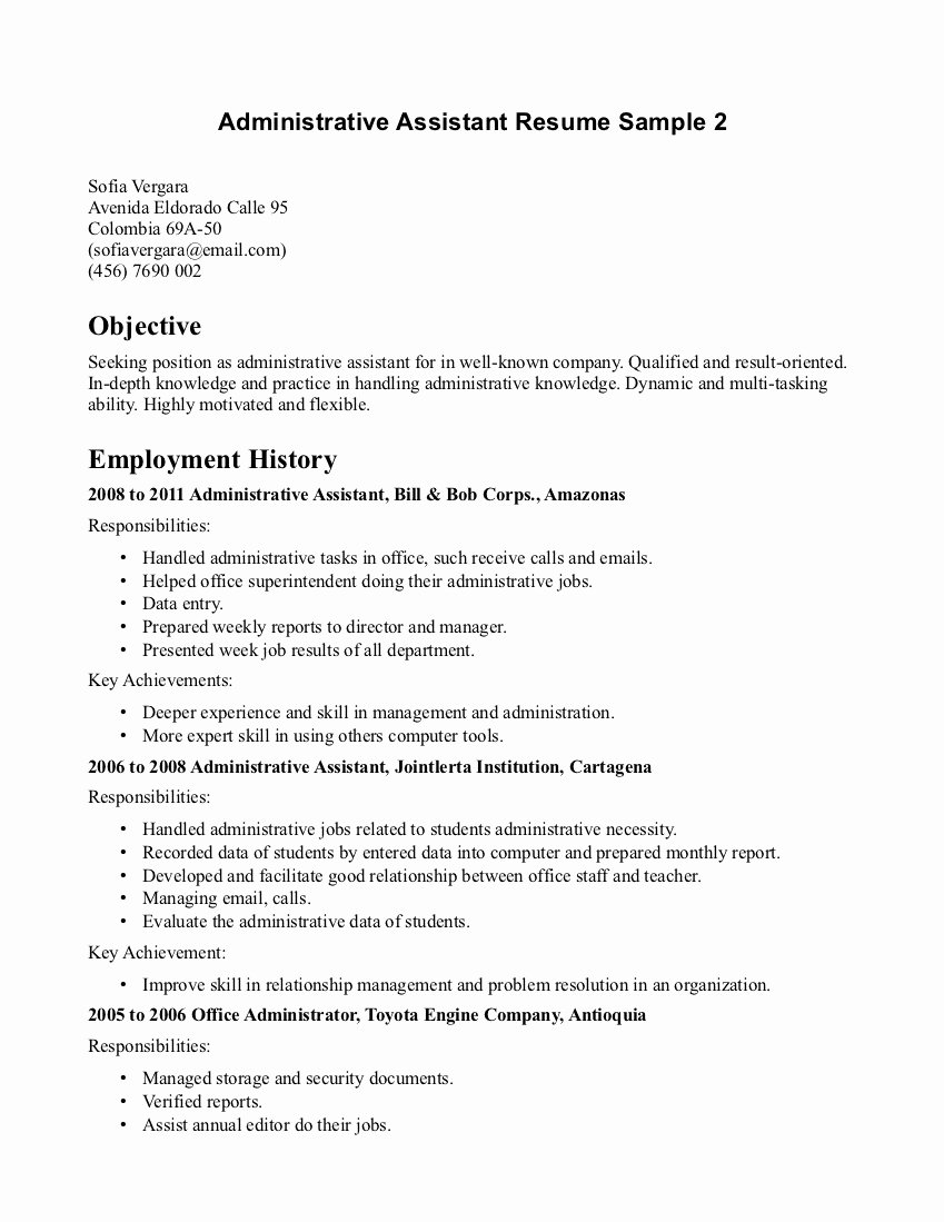 Resume Examples Objective for Fice assistant Sample
