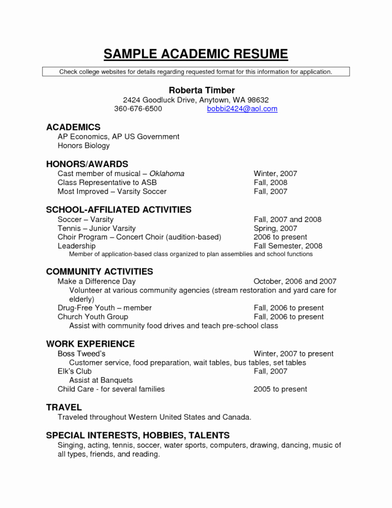 Resume Examples Sample Academic Resume Academics