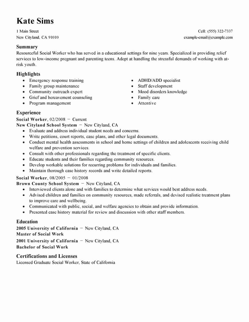 Resume Examples social Work Examples Resume