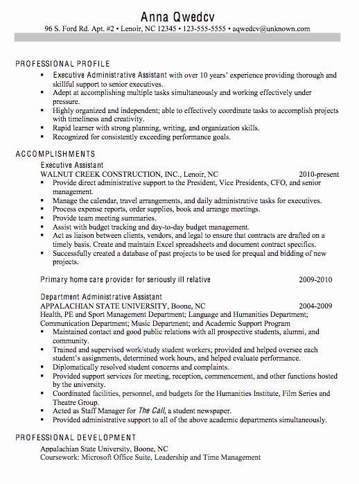 Resume Executive Administrative assistant Susan Ireland