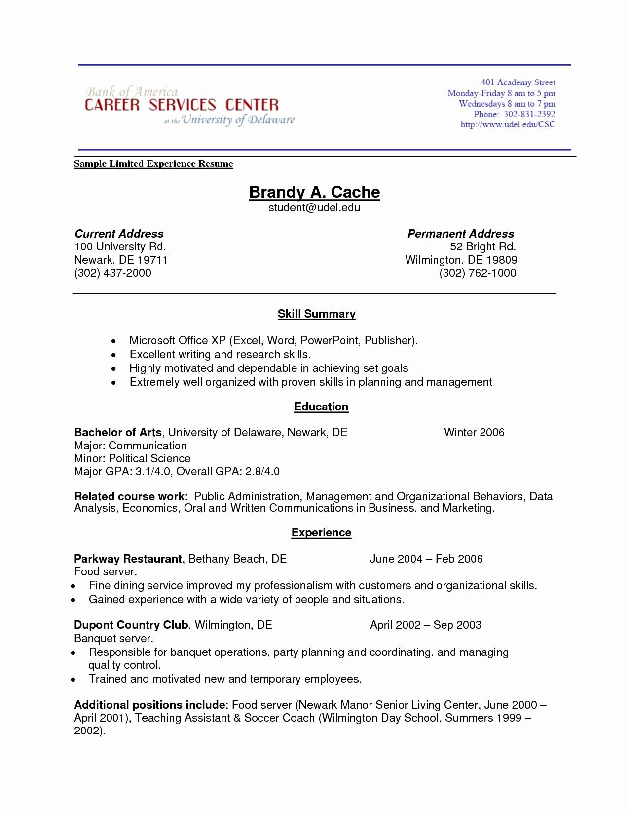 Resume Experience