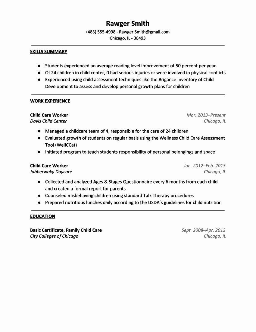 Resume Factory Worker