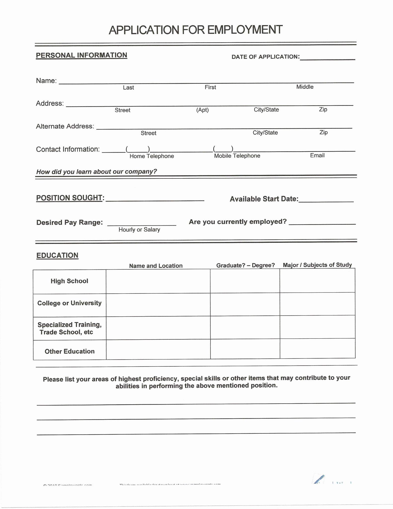 Resume Fill In