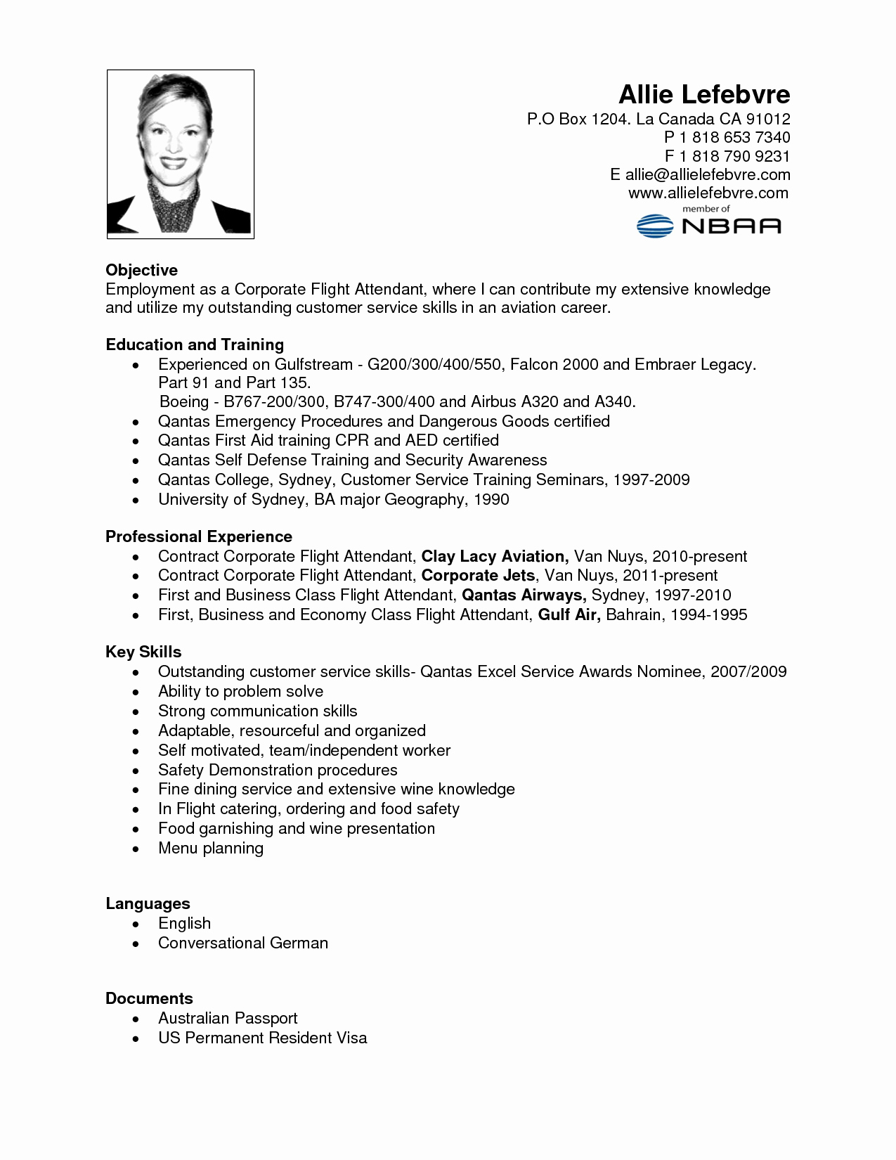 Resume Flight attendant without Experience Resume Ideas
