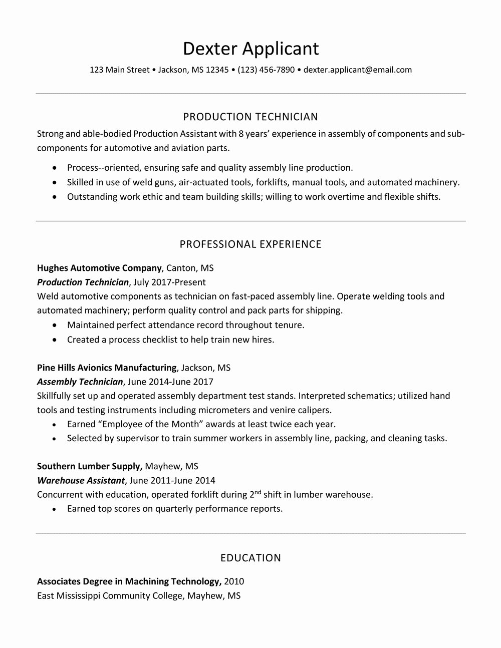 Resume Font Calibri