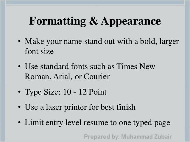 Resume Font Size And Type Australian