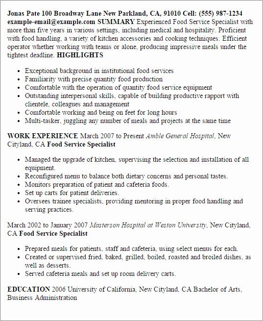 Resume Food Service