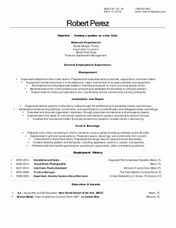 Resume for A Cook