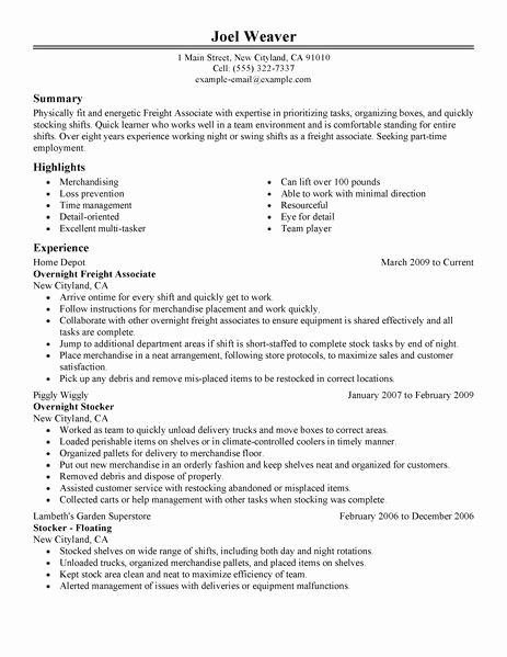 Resume for A Part Time Job Best Resume Collection