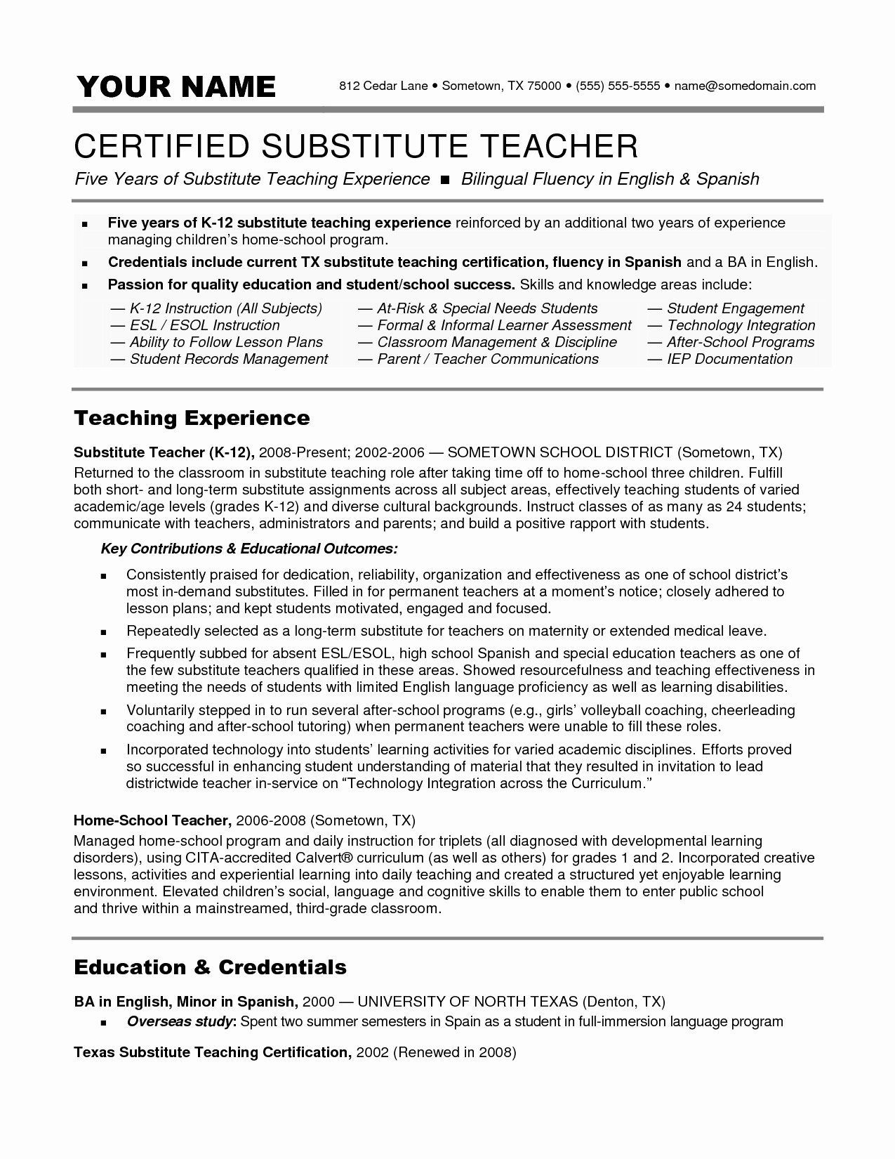 Resume for A Substitute Teacher Resume Ideas