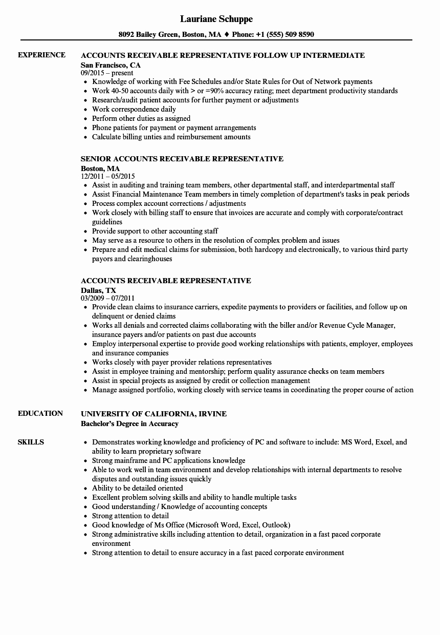 Resume for Accounts Receivable Talktomartyb