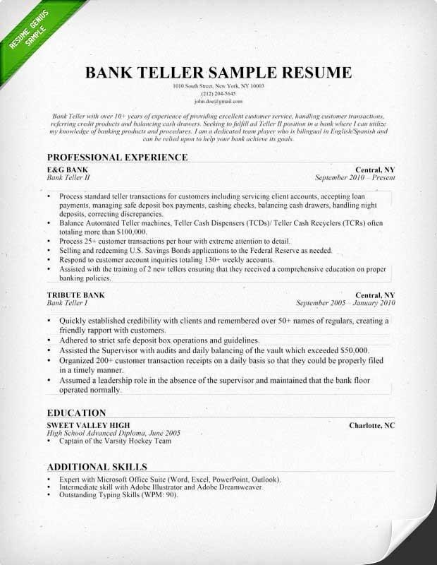 Resume for Bank Teller Position Best Resume Gallery