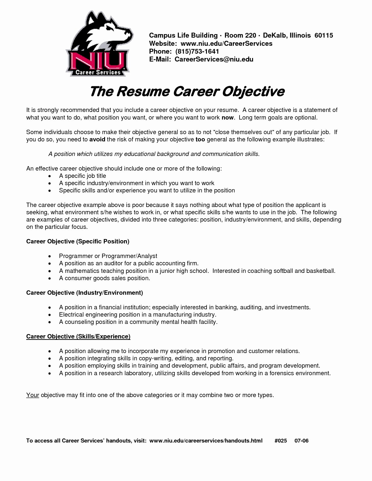Resume for Campus Jobs Job Resume Objective