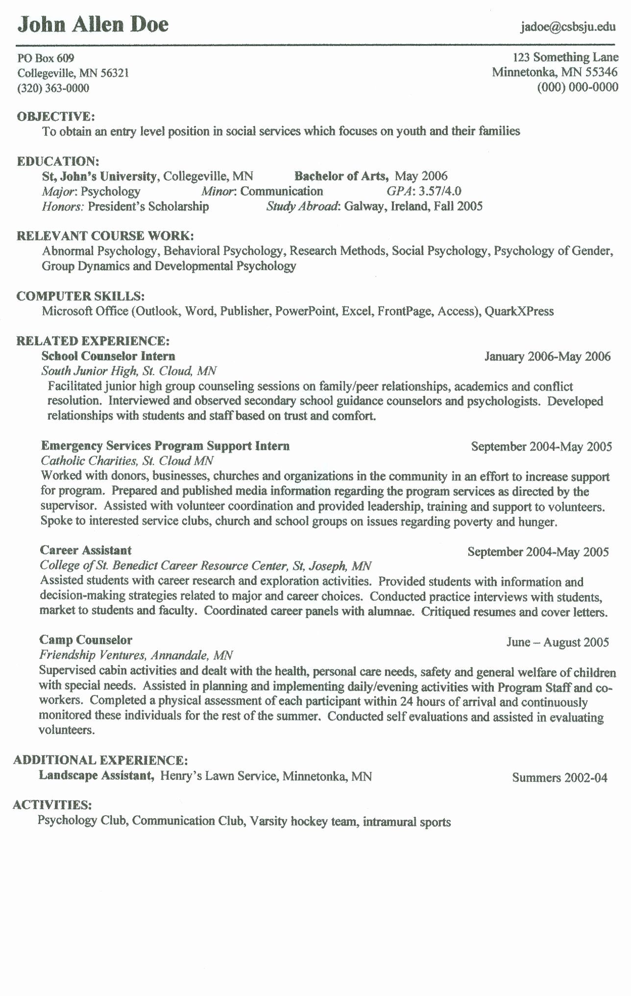 Resume for Campus Jobs Show Me A Example A Resume