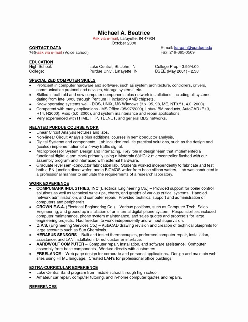 Resume for Campus Jobs