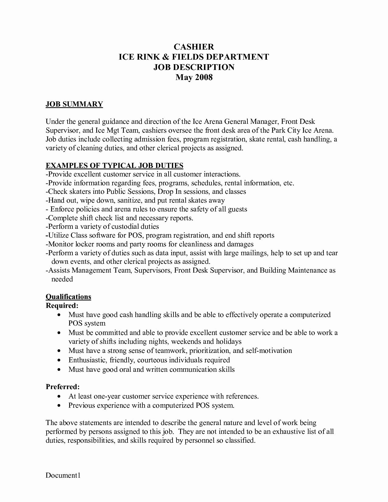 Resume for Cashier at Mcdonald S Sidemcicek