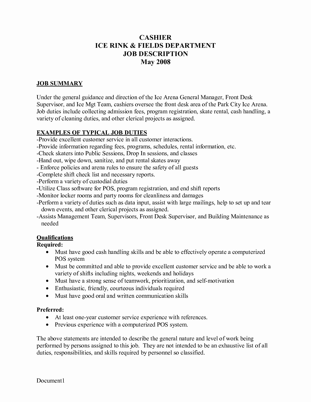 Resume for Cashier at Mcdonald S Sidemcicek