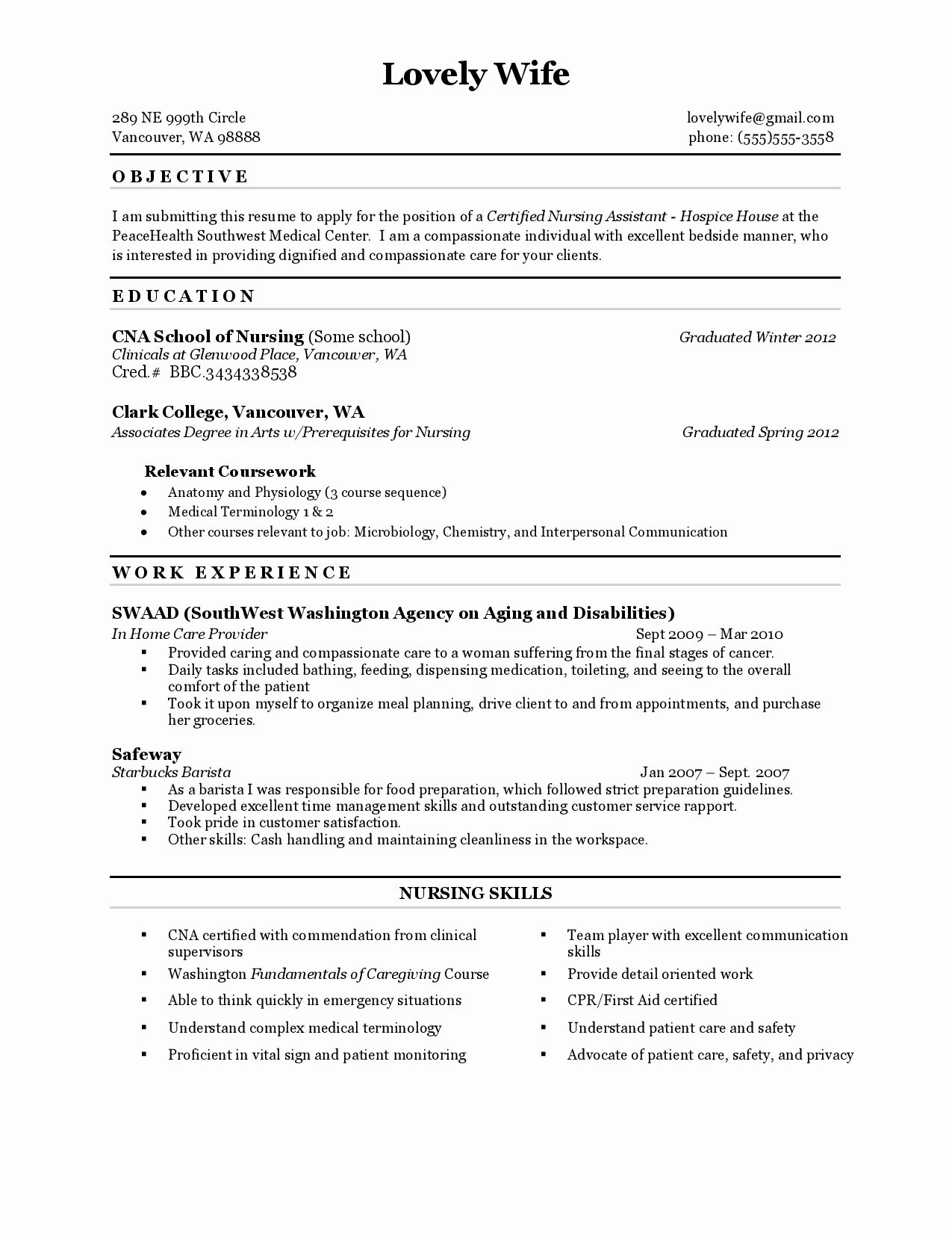 Resume for Cna with Experience Entry Level Examples Resume