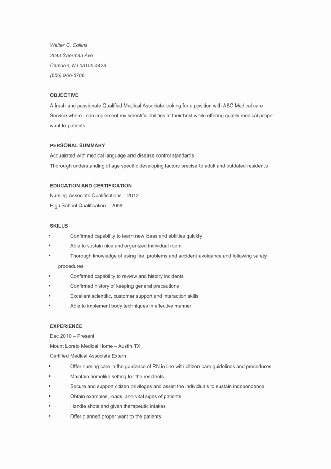 Resume for Cna with No Experience Resume Sample Cna Skills