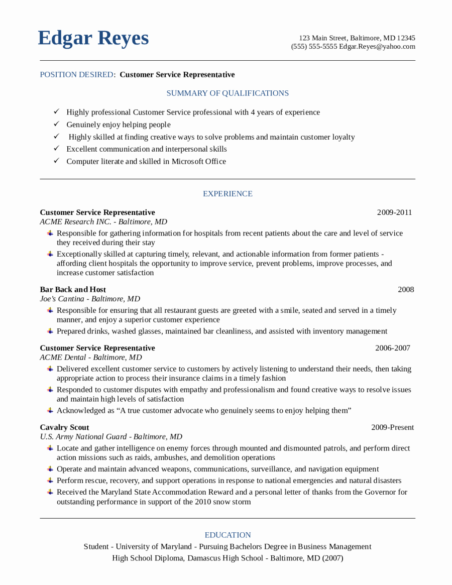 Resume for Customer Service Edit Fill Sign Line