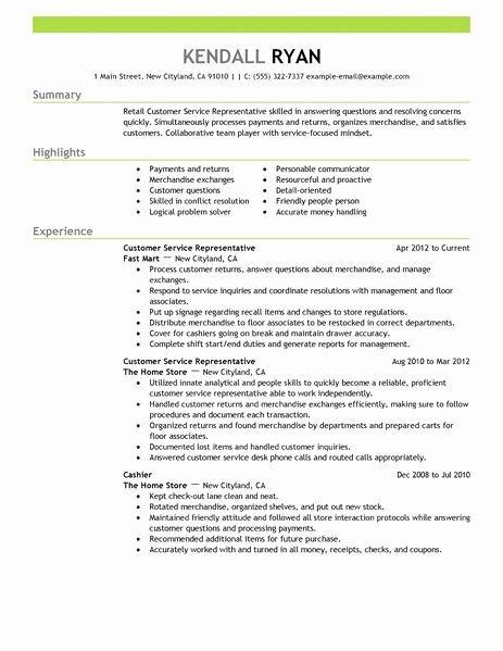 Resume for Customer Service Job Description