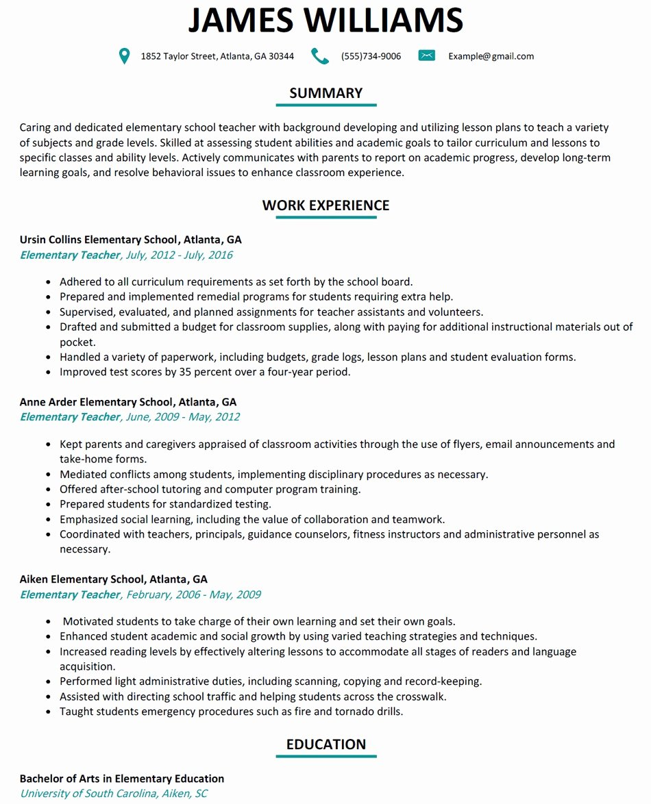 Resume for Elementary Teachers Elementary Teacher Resume