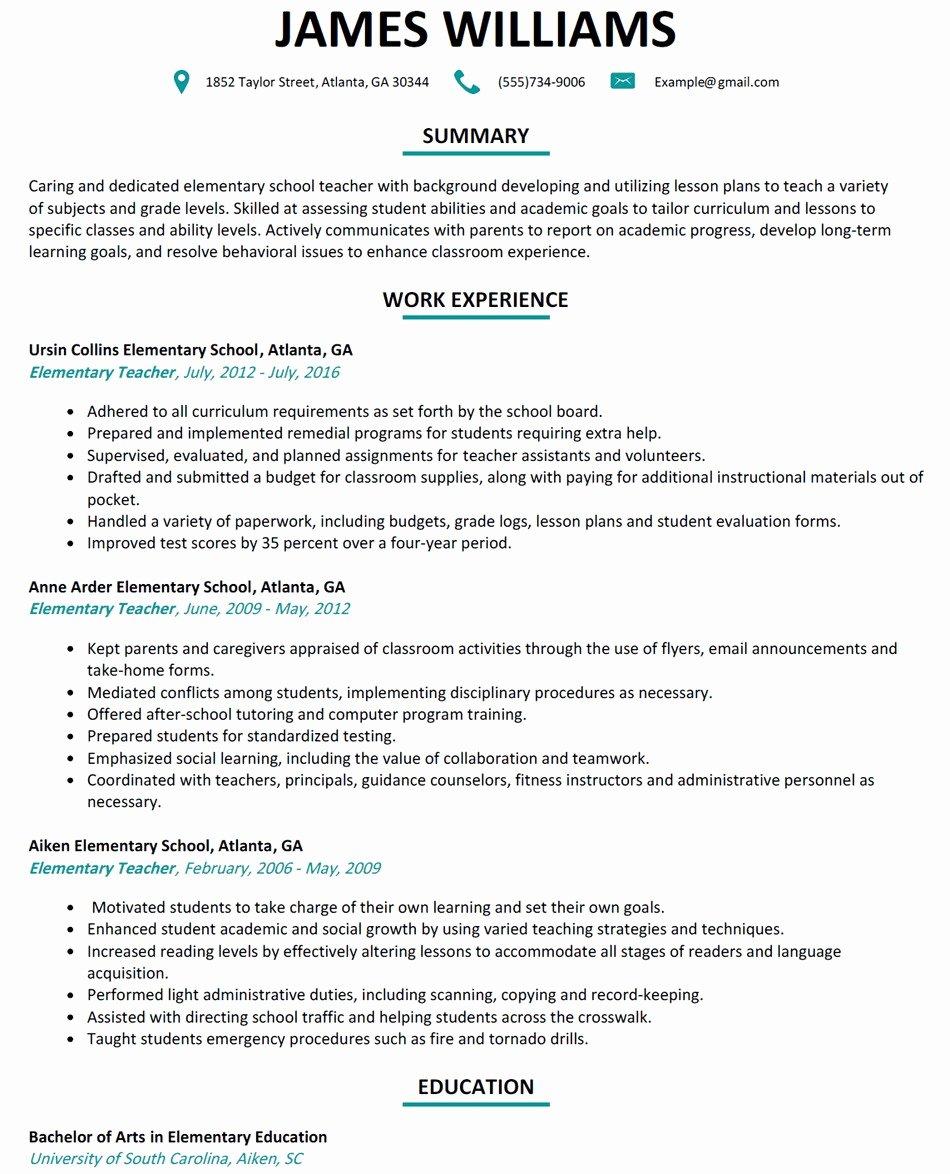 Resume for Elementary Teachers Elementary Teacher Resume