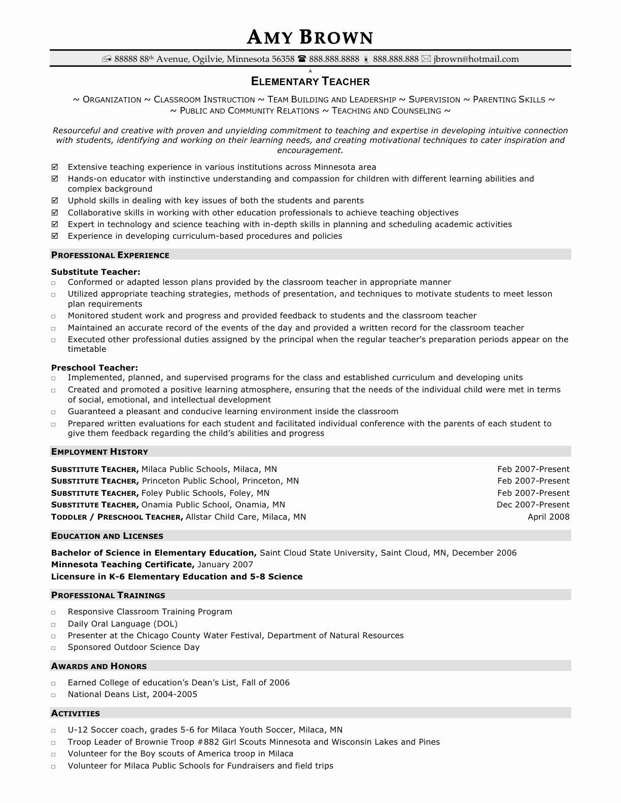 Resume for Elementary Teachers Teacher Resume Examples