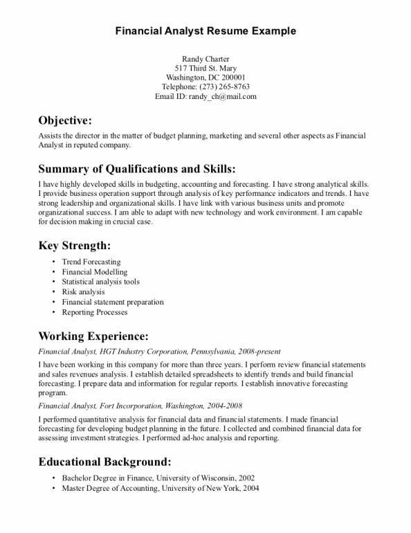Resume for Entry Level Financial Analyst