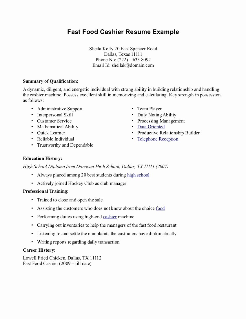 Resume for Fast Food Restaurant – Perfect Resume format