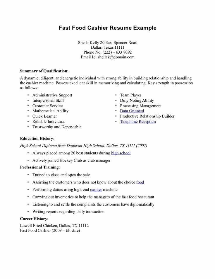 Resume for Fastfood Fast Food Cashier Resume