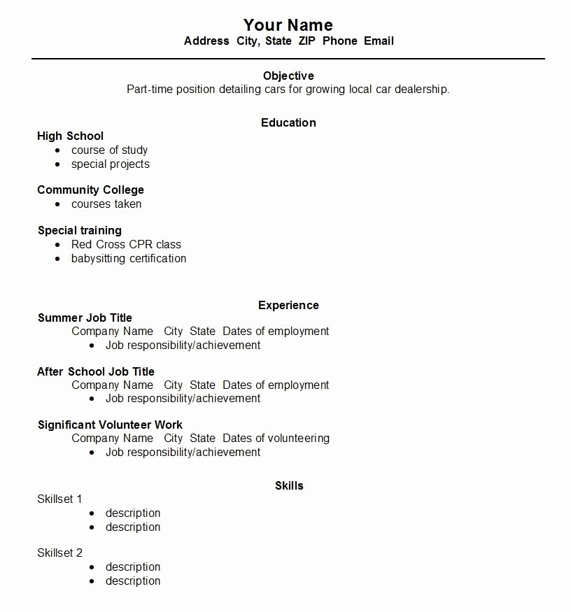 Resume for First Job No Experience How to Write A Resume