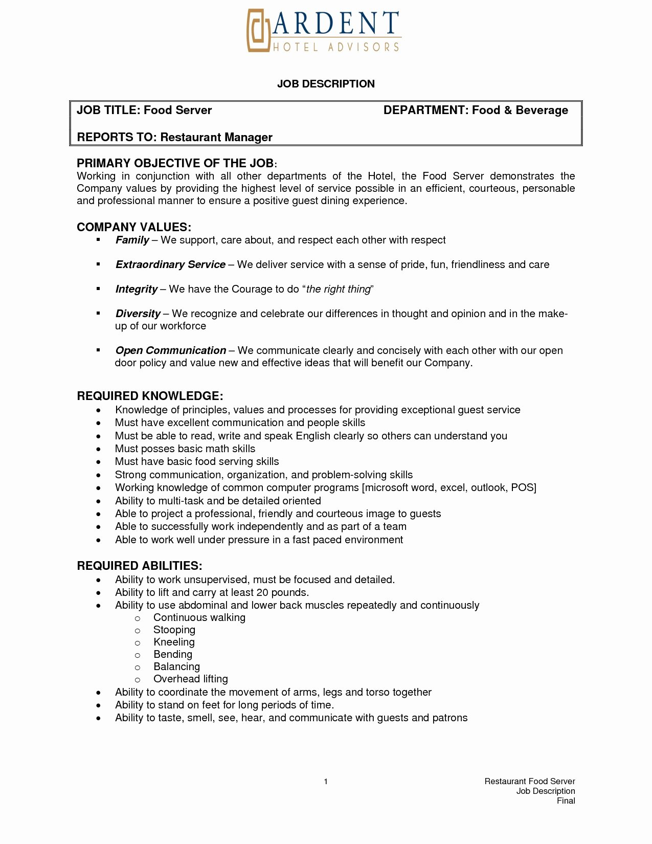 Resume for Food Server Job Duties List Example