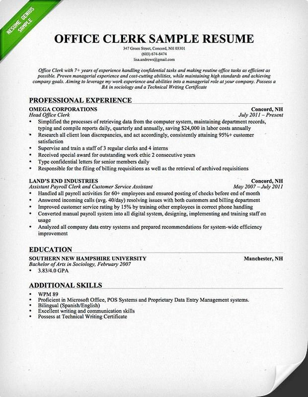 Resume for Food Service Worker