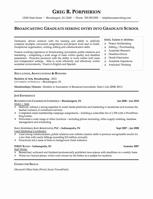 Resume for Graduating College Student Best Resume Collection