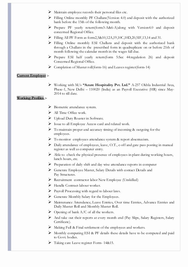 Resume for Hr Executive Payroll Esic Pf