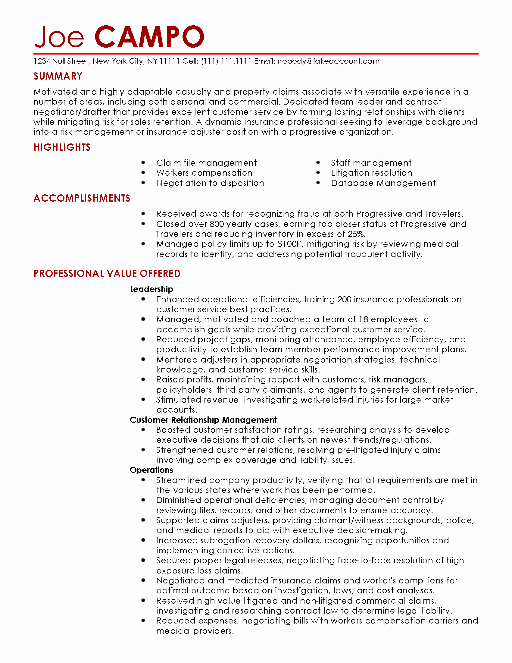 Resume for Insurance Claims Adjuster Sidemcicek