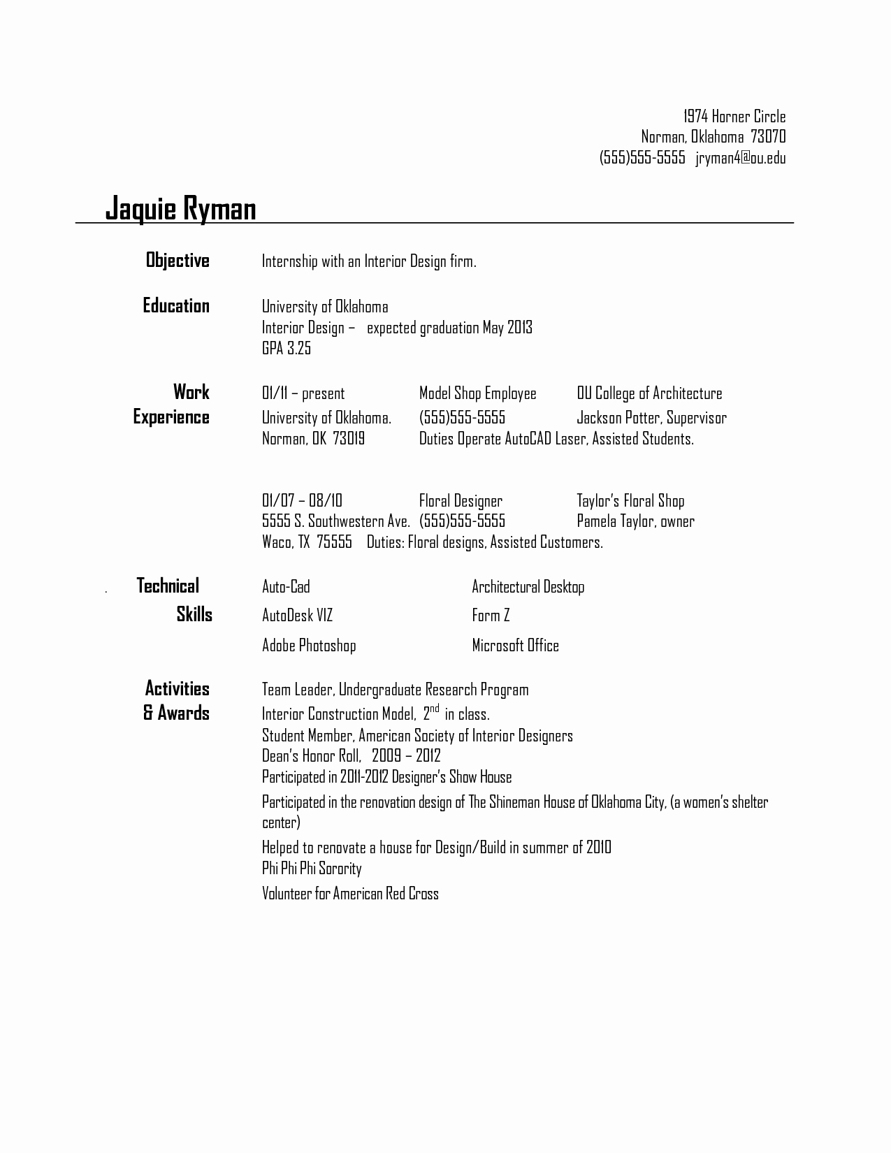 Resume for Interior Design Internship Resume Ideas