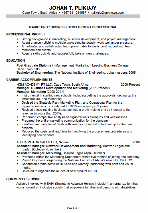 Resume for Marketing Business Development Susan
