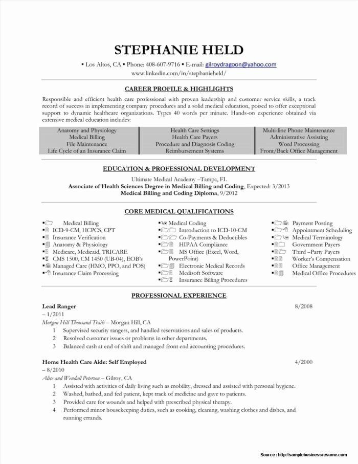 Resume for Medical Billing and Coding Specialist Resume