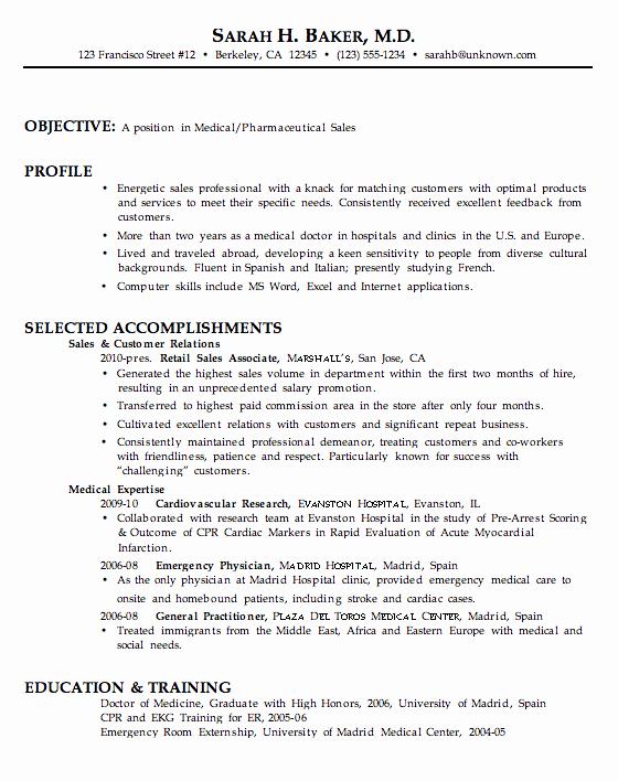 Resume for Medical Pharmaceutical Sales Susan Ireland
