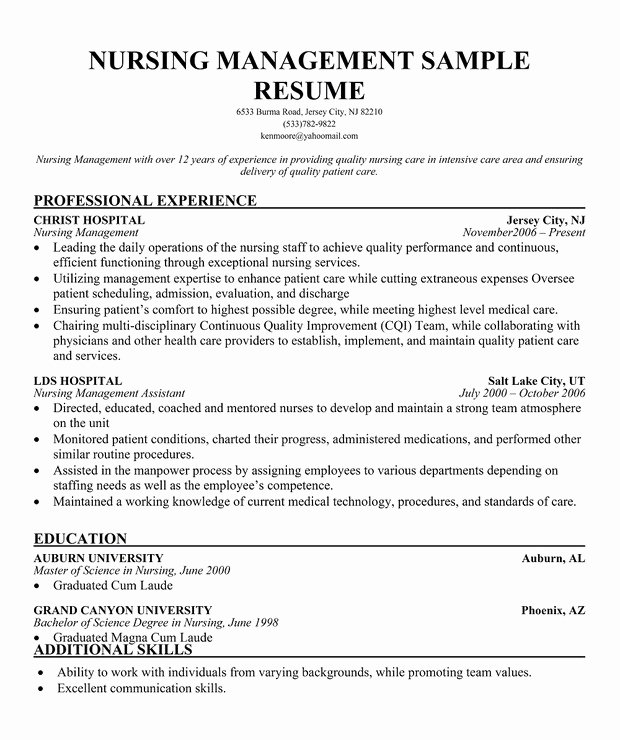 Resume for Nursing Director
