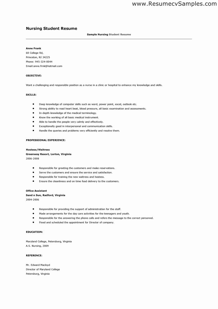 Resume for Nursing Student with No Experience Best