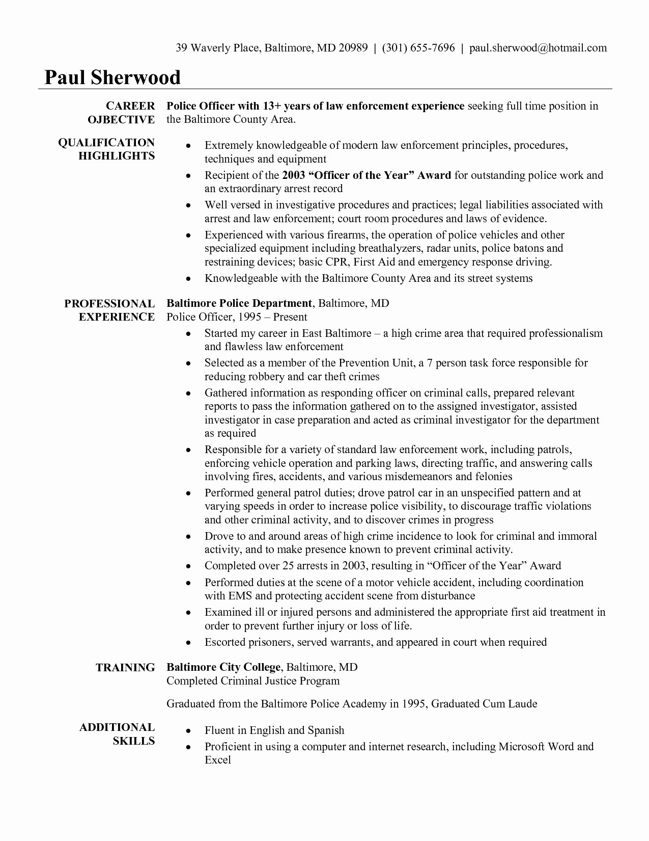 Resume for Police Ficer with No Experience Free