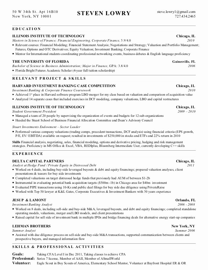 Resume for Private Equity Exaple
