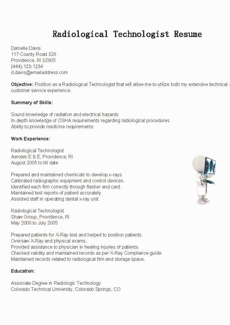 Resume for Radiologic Technologist Radiologic