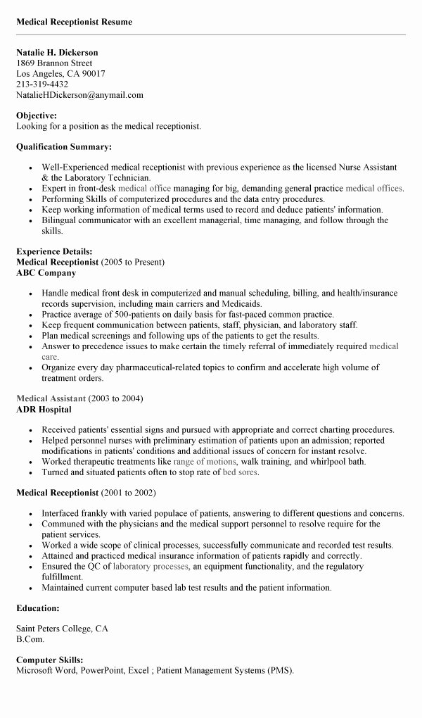 Resume for Receptionist No Experience Resume Ideas