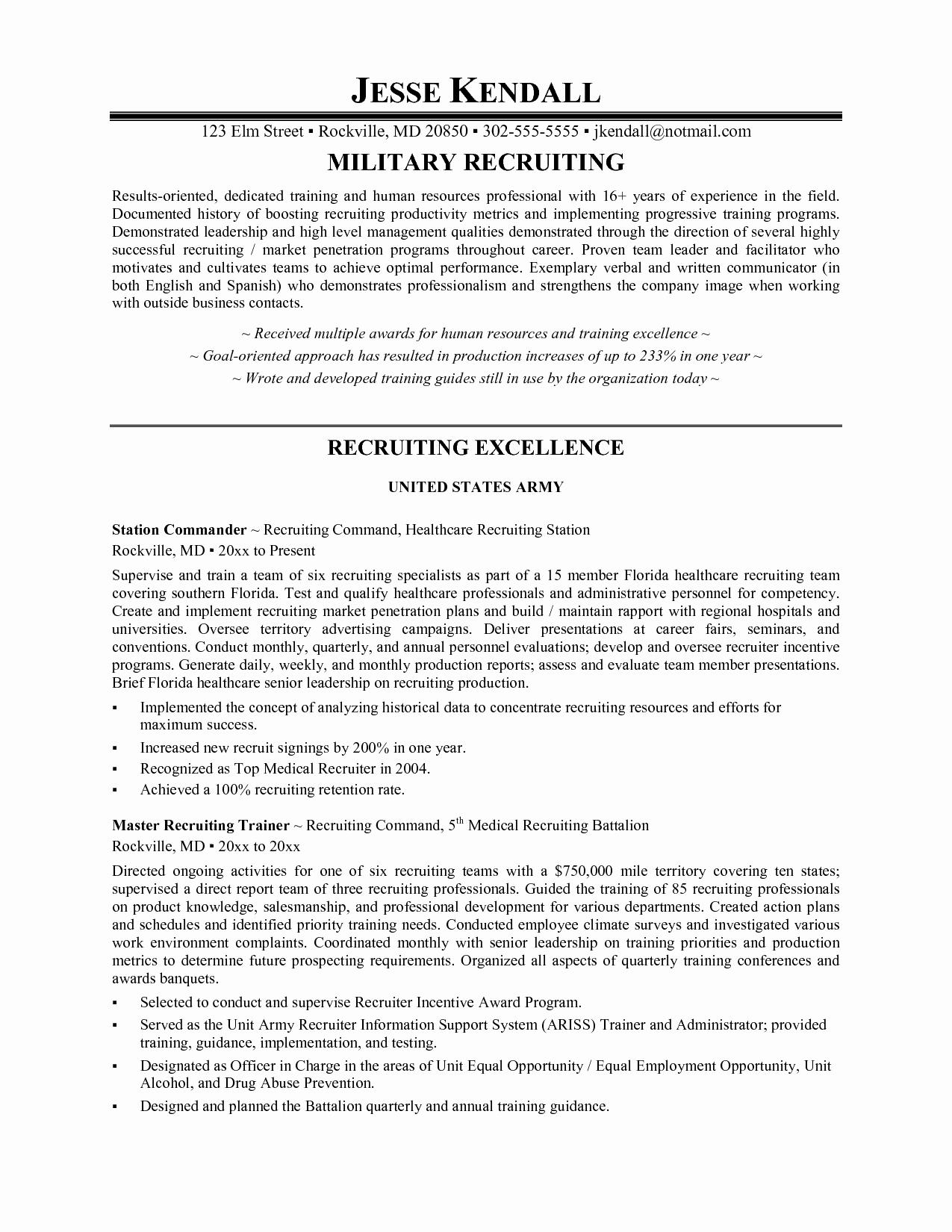 Resume for Recruiter Position Sample Sidemcicek
