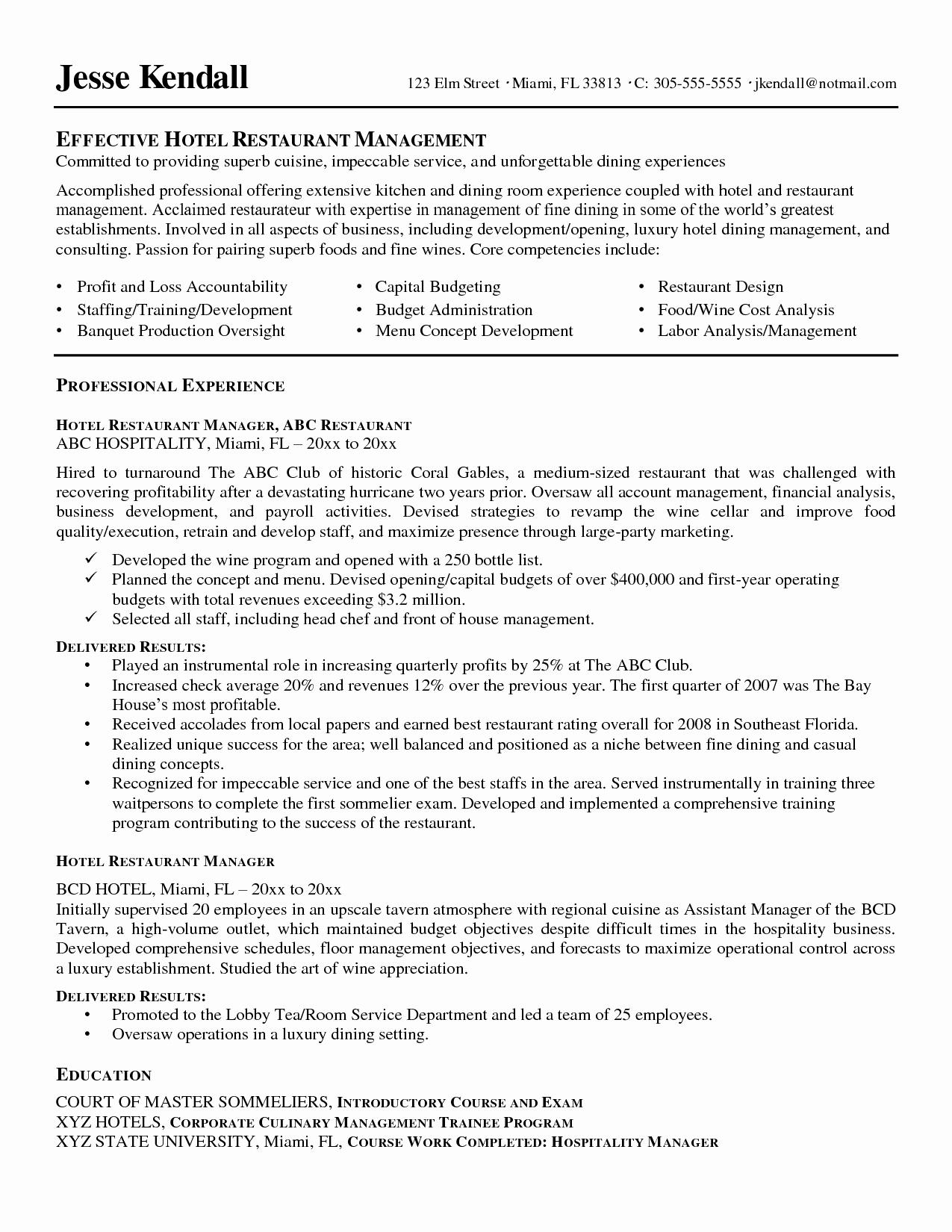 Resume for Restaurant Supervisor Resume Ideas